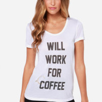 Laundry Room Coffee Bum White Tee