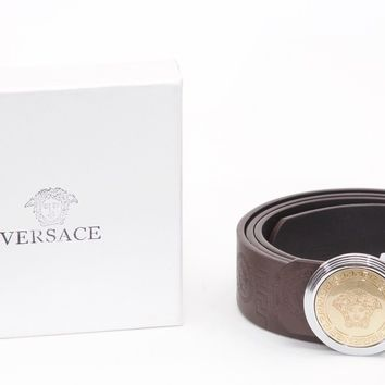 """Top Condition VERSACE Silver & Gold Rounded MEDUSA Brown Leather Belt Sz 40""""-44"""""""