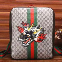 One-nice™ Gucci Women Fashion Leather Tiger Angry Cat Embroidery School Bookbag Backpack