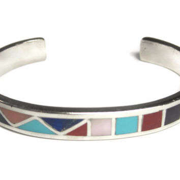 Vintage Zuni Sterling Banteah Multi Stone Inlay Cuff Bracelet 6.5 Inches