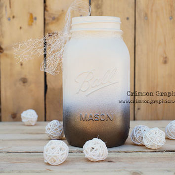 Ombre Quart Ball Mason Jar Wedding Centerpiece Bouquet Vase Metallic Bronze Cream