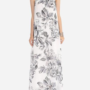 Casual Assorted Colors Floral Printed Loose Fitting Courtly Halter Maxi-dress