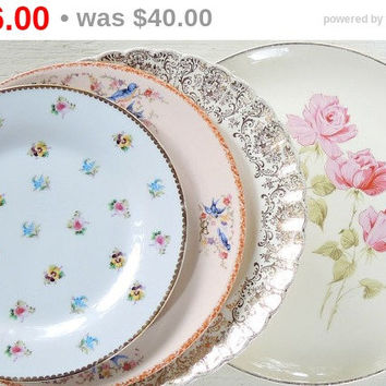 Pink and Blue Mismatched Dinner Plates Set of 4, Cottage Style China Tea Parties Wedding Shabby Chic Replacement China
