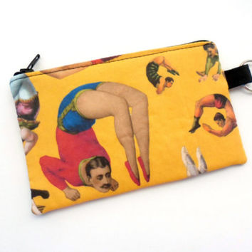 Circus Coin Purse, Steampunk Small Zipper Pouch, Acrobat Padded Card Holder - Black and Yellow
