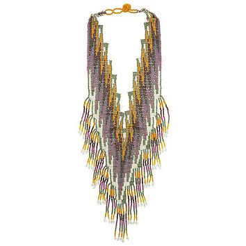 Seed bead oversized aztec chevron bib necklace
