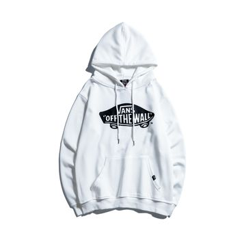 VANS autumn and winter new men and women hooded loose sports casual pullover white