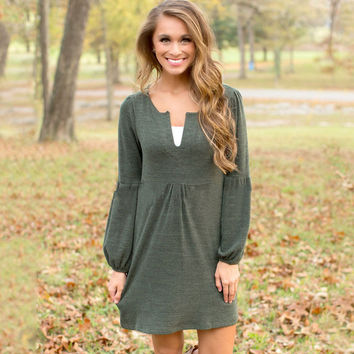 Green Lantern Long Sleeve V neck Dress