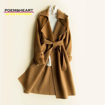 POEM&HEART 2017 New Double-faced Cashmere 100% Wool Long Women Coat Turn-down Collar Pure Handmad Women Overcoat Thick Plus Size