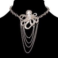 Nickel Free Octopus Choker Necklace with Chain Drape, USA!, in Burnished Silver