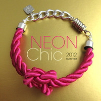 Hot magenta silk cord knot neon bracelet on silver chain. Bright silk braid neon bracelet with magnet clasp for summer 2012. Neon jewelry.