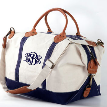 Navy Trim Monogram Canvas Weekend Duffle Bag