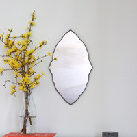 Oval Scalloped Mirror Handmade Wall Mirror Ornate Organic Frameless Wall Mirror