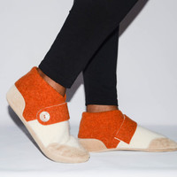 Women Slippers, Wool and Cashmere Felted House Slippers, Eco Friendly and Handmade in the USA.  Size:  USA Adults 6.5 -16. Longhorn