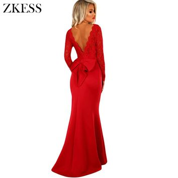 Zkess Women Bow Sexy V Back Maxi Dress Sheer Lace Patchwork Long Sleeve O Neck Ruched Party Club Sheath Long Dress LC61857