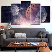 Basketball Moon Stars Sky Wall Picture for Home Decor Framed UNframed