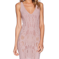 Free People Bella Coach Bodycon Slip Dress in Mauve