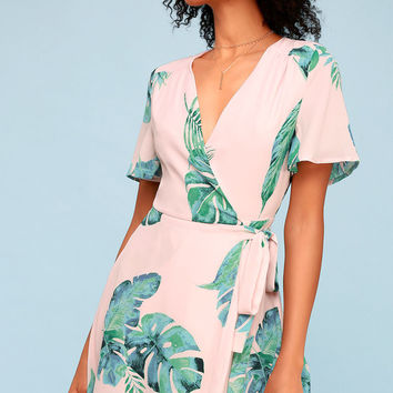 Villa Marie Blush Pink Leaf Print Short Sleeve Wrap Dress