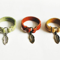 Leather Ring with Feather Charm - Choose Your Color