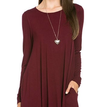 Long Sleeve Sleeve Trapeze Dress  - Burgundy