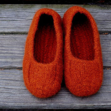 Felted Slippers Orange Marsala Women Men Children's Sizes
