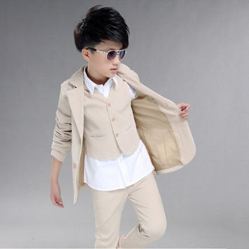 Boys wedding suit Kids Tuxedos Page boy Outfits 3 pieces Autumn Clothing sets Boys blazer suit Corduroy Occasion Suits