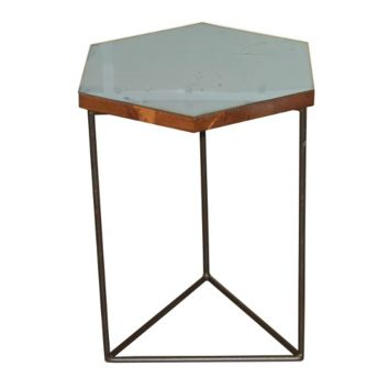 Hexagon Accent Table, Large, Mirror