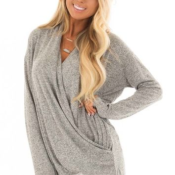 Heather Grey Crossover Top with Long Sleeves