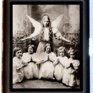 Victorian 1890's Real Photograph Angel Play Surreal Cigarette Case or ID Case or Business Card Wallet Sweetheartsinner