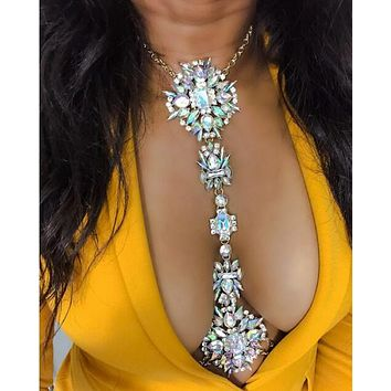 Vedawas Fashion Facebook Body Long Chain Necklace Statement Jewelry Women Crystal Choker Sexy Boho Collar Maxi Necklace XG1814