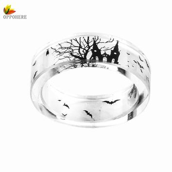 OPPOHERE Handmade Transparent Bat And Trees Resin Rings Scenery Inside Black And White Women Finger Knuckle Ring