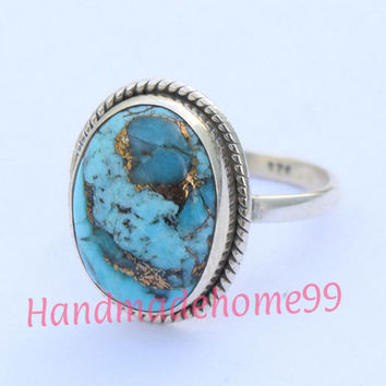 Blue Copper Turquoise ring, sterling silver ring,92.5% solid sterling silver ring, copper Turquoise ring, handmade ring, size 3 to 16(US)