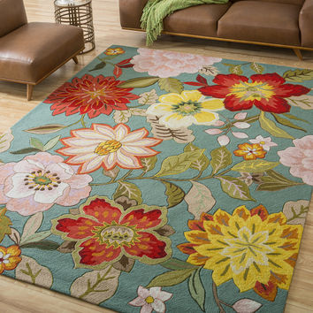 """Nourison Hand-Hooked Fantasy Blue Area Rug (8' x 10'6"""") 