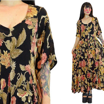 vintage 90s black floral maxi dress soft grunge romantic 90s does 70s hippie boho priairie gypsy summer dress medium