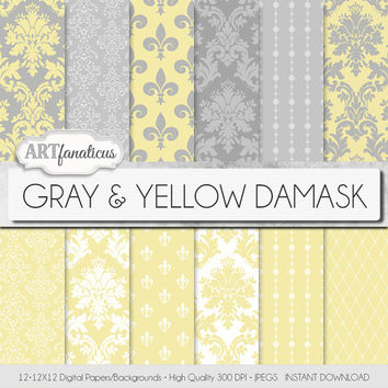 "Damask digital paper ""GRAY & YELLOW DAMASK"" elegant, yellow, white, gray, damask for weddings, baby shower, scrapbooking, invites,home décor"