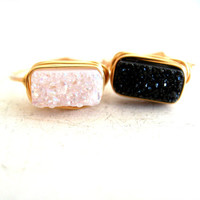 Druzy Ring Druzy Bar Black White Gold Silver Adjustable ring Modern Geometric Jewelry Vitrine Designs