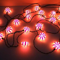 Vintage Wrapped Christmas Candy Holiday Lights 2 Sets Xmas Lights Holiday Decor Red And White Christmas Light Strand