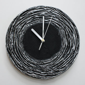 Black Clock, Black WALL CLOCK Black home decor minimalist  black and silver wall clock