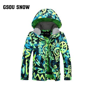 Snow Gsou double veneer ski suit for children and young boys wind proof and waterproof outdoor ski clothes