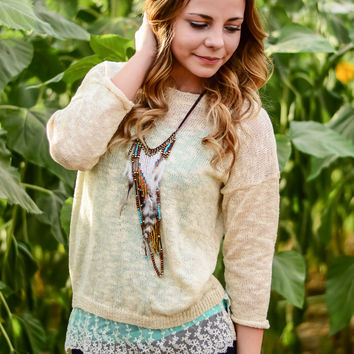 TRUE TO YOU LACE SWEATER IN CREAM