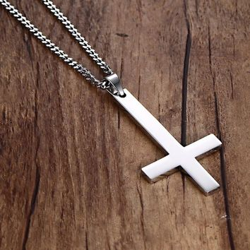 30x55mm Large Inverted Upside Down Cross Pendants in Stainless Steel - Silver, Gold, Black
