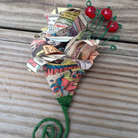 Superman Boutonniere with Embelishments - Superman Wedding - Superman Wedding Boutonniere