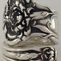 Size 9.5 Vintage Sterling Silver Floral Spoon Ring