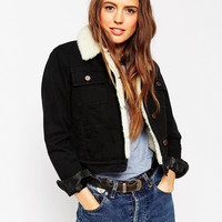 ASOS Denim Cropped Jacket in Clean Black with Borg Lining and Collar