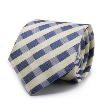 Checkered Gold, Blue, and White Slim Tie