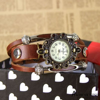 Women Vintage Leather Quartz Wrist Watch Retro Style Braclet Watches S045