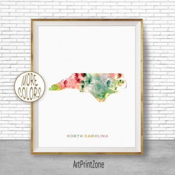 North Carolina Map Art Print North Carolina Art North Carolina Print Map Print Map Poster Watercolor Map Office Poster ArtPrintZone