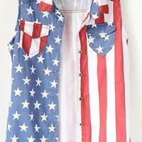Sleeveless Americana Denim Vest
