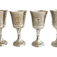 Incised Silver Goblets, S/4