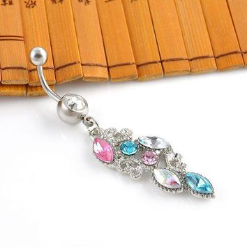 ac DCCKO2Q New Stainless Steel Colorful Rhinestone Crystal Belly Button Ring Dangle Navel Body Jewelry Piercings Tassel Free shipping