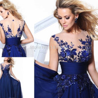 Actual Pictures! Stock 2015 Blue Charming Elegant Chiffon Appliques Natural long prom dresses for party new arrival-in Prom Dresses from Apparel & Accessories on Aliexpress.com | Alibaba Group